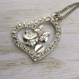 """DISNEY MINNIE MOUSE HEART JEWELED NECKLACE 18"""""""